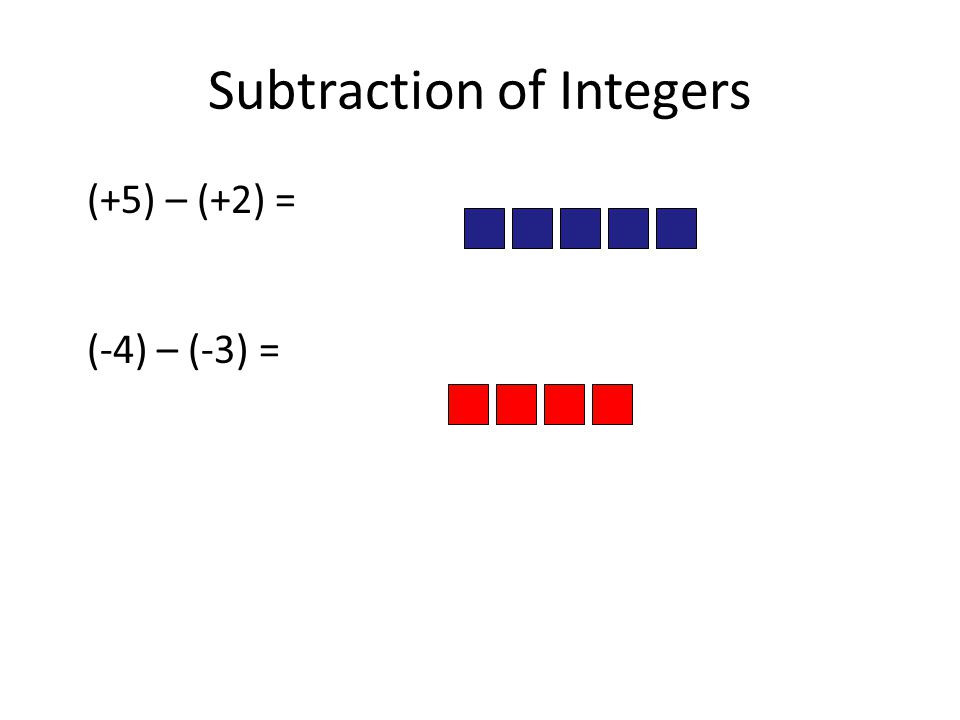 Subtraction of Integers (+5) – (+2) = (-4) – (-3) =