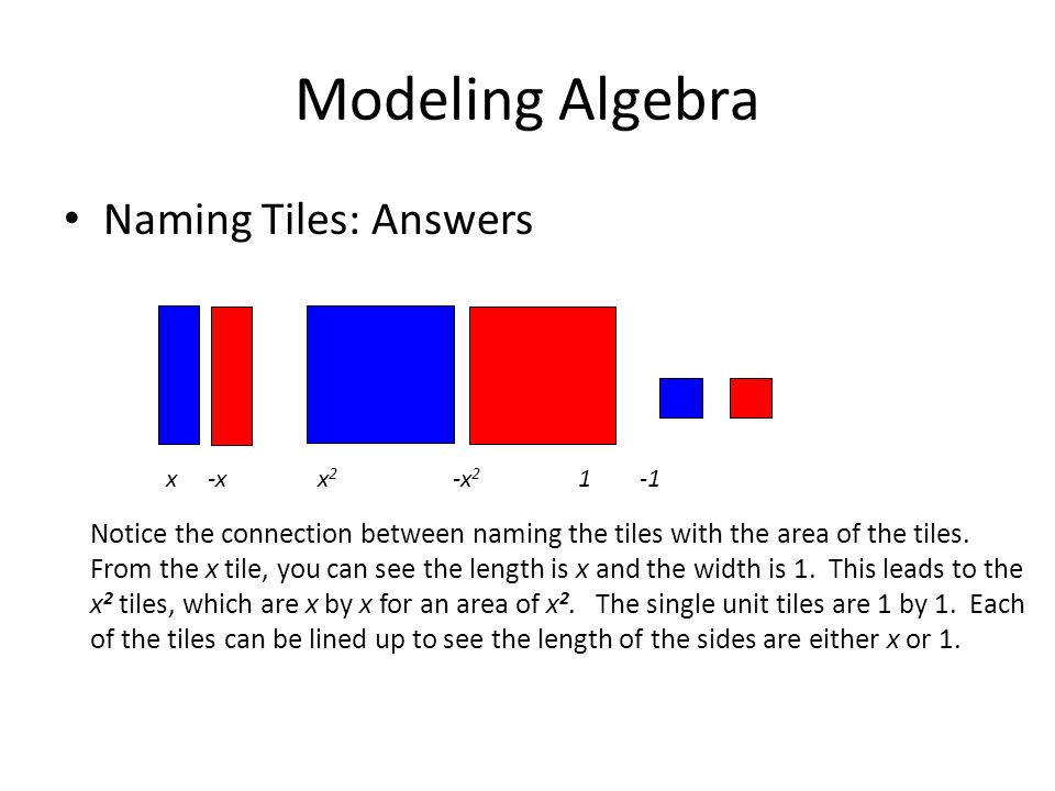 Modeling Algebra Naming Tiles: Answers x -x x 2 -x 2 1 -1 Notice the connection between naming the tiles with the area of the tiles. From the x tile,