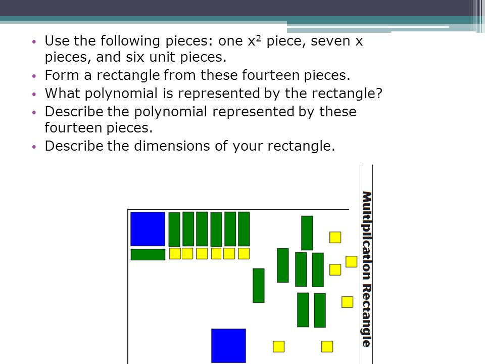 Use the following pieces: one x 2 piece, seven x pieces, and six unit pieces. Form a rectangle from these fourteen pieces. What polynomial is represen