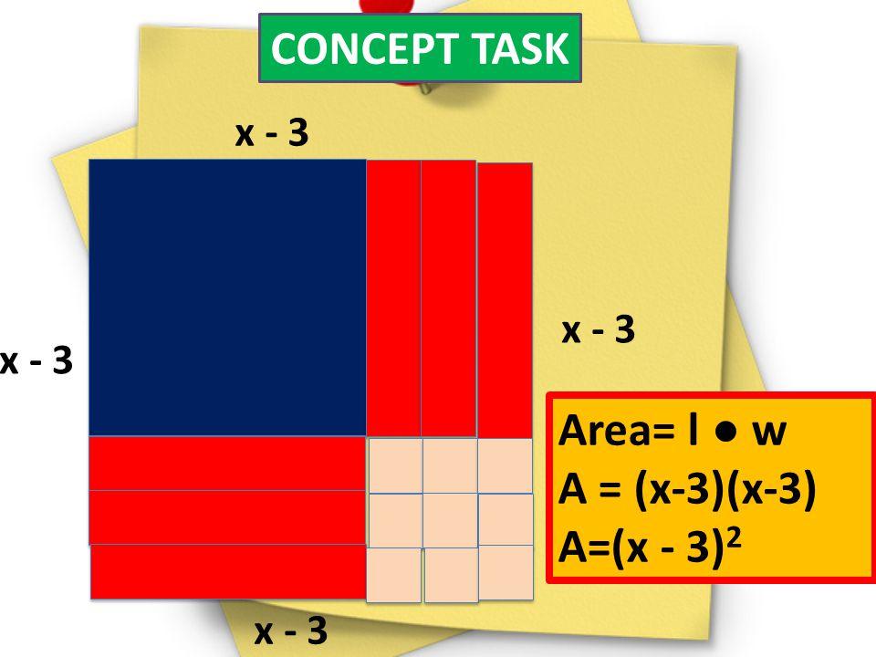 CONCEPT TASK x - 3 Area= l w A = (x-3)(x-3) A=(x - 3) 2