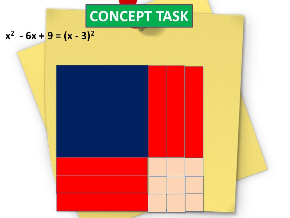CONCEPT TASK x 2 - 6x + 9 = (x - 3) 2