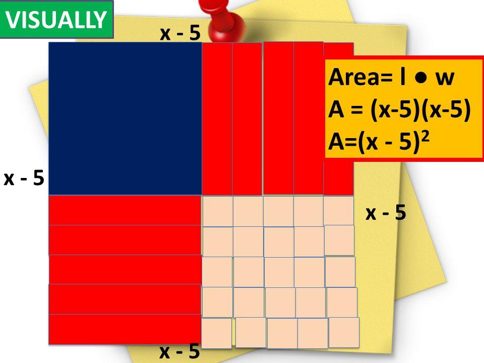 VISUALLY x - 5 Area= l w A = (x-5)(x-5) A=(x - 5) 2