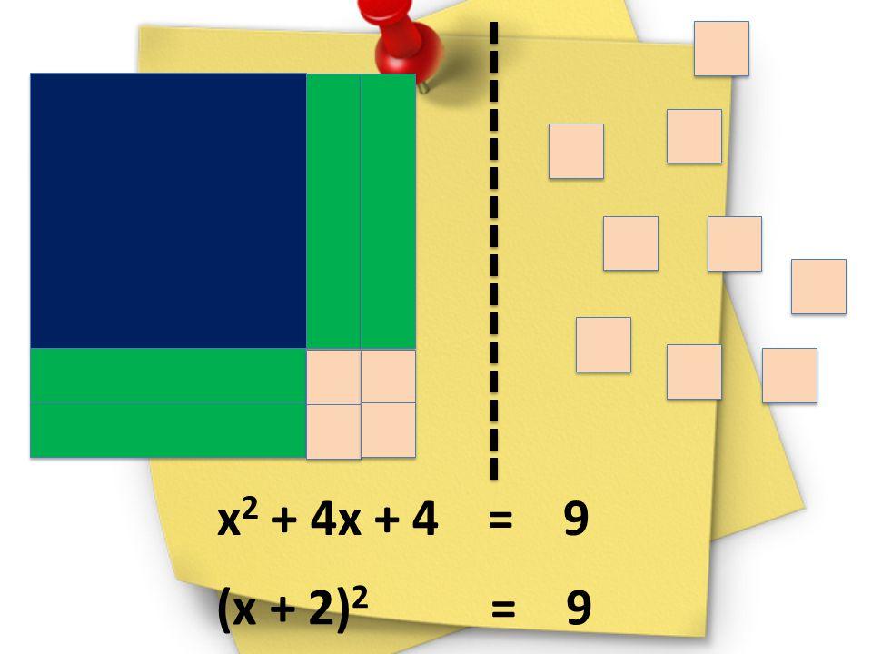 x 2 + 4x + 4 = 9 (x + 2) 2 = 9