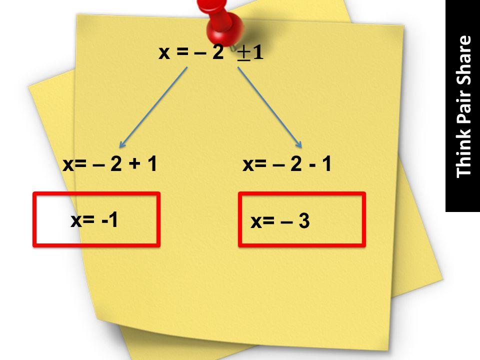x= – 2 + 1 x= – 2 - 1 x= -1 x= – 3 Think Pair Share