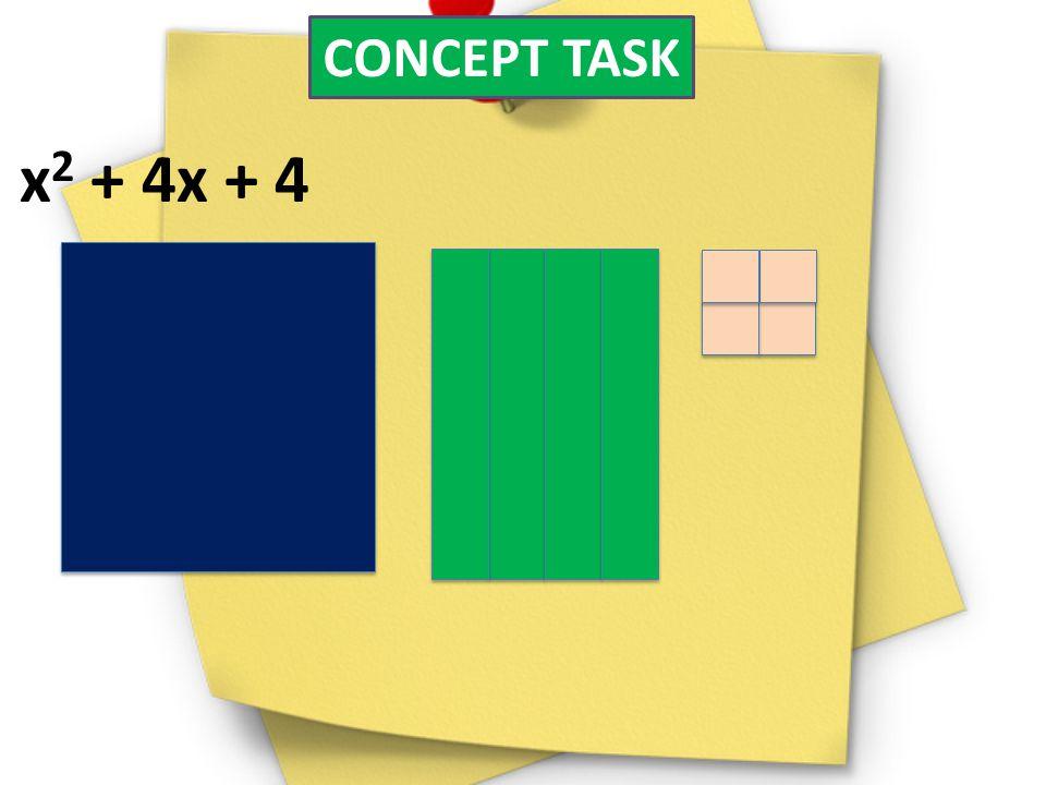 CONCEPT TASK x 2 + 4x + 4