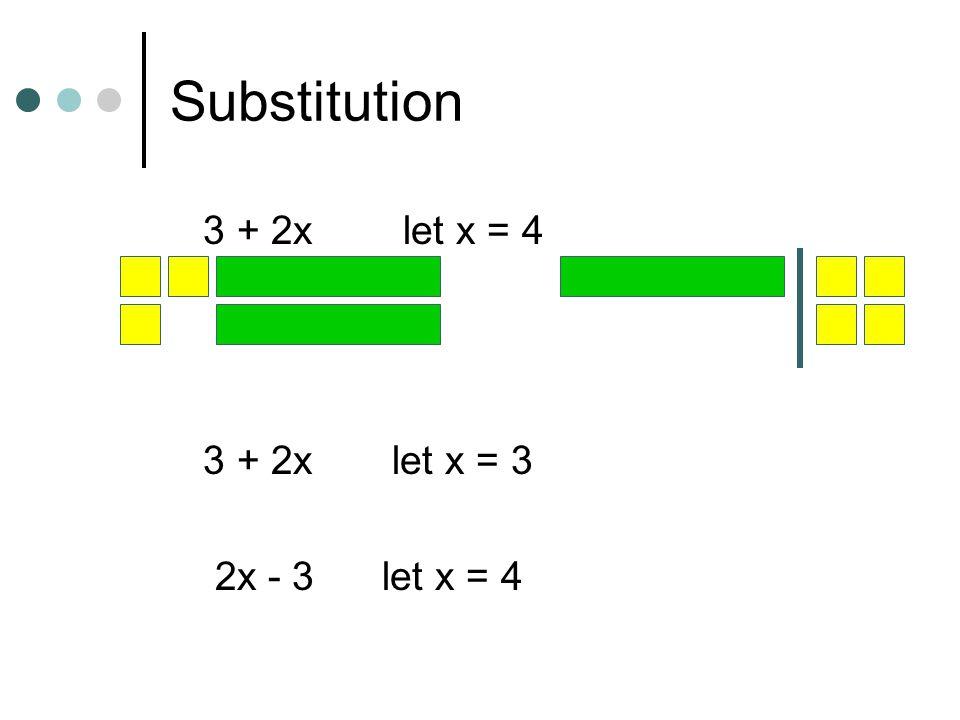 Substitution 3 + 2x let x = 4 3 + 2x let x = 3 2x - 3 let x = 4