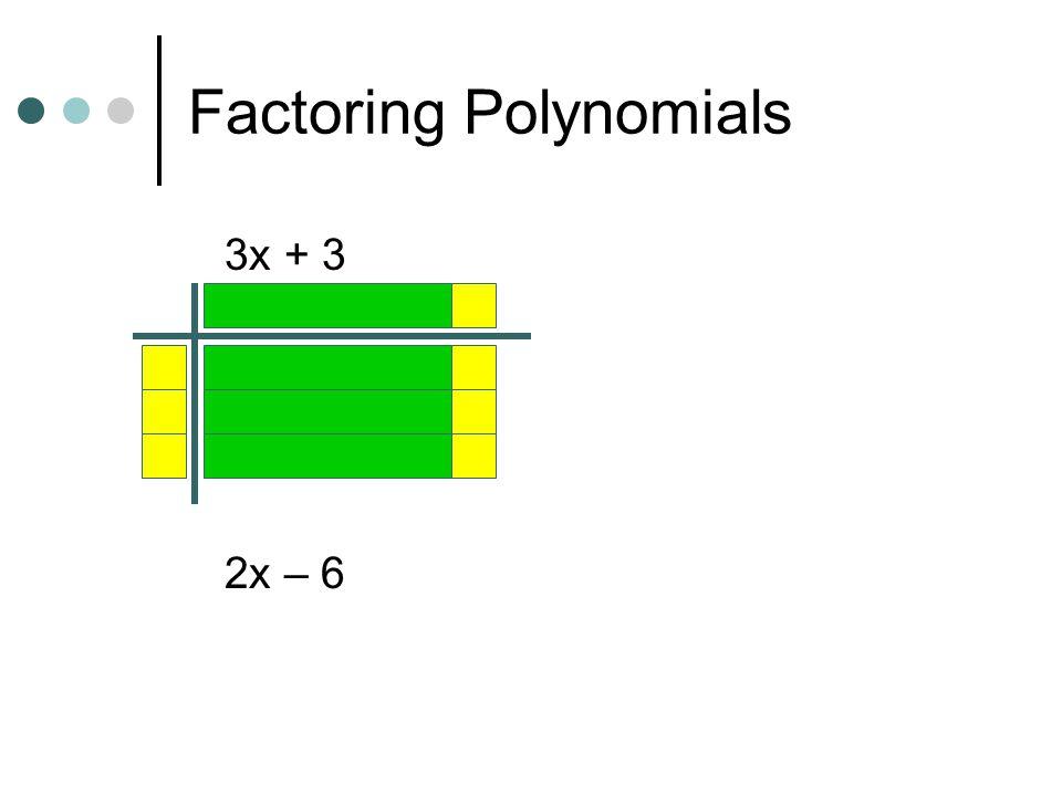 Factoring Polynomials 3x + 3 2x – 6