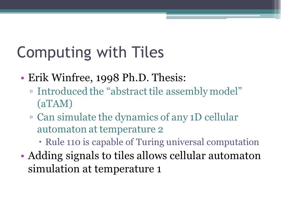 Computing with Tiles Erik Winfree, 1998 Ph.D.