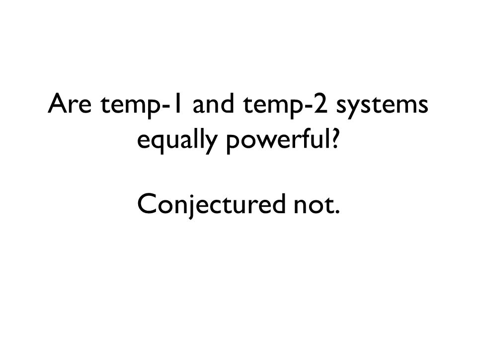 Are temp-1 and temp-2 systems equally powerful Conjectured not.