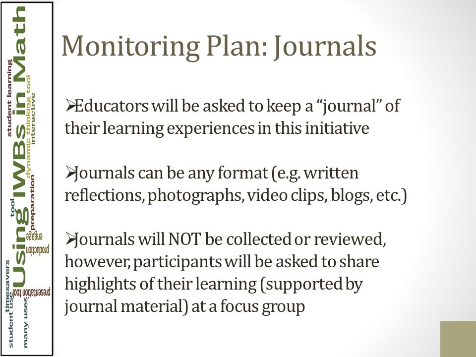 Monitoring Plan Pre-survey ( completed ) Student survey via SMS Session feedback to help tailor future session content to group needs/interests Anonymous professional learning exit ticket towards the end of the initiative Teacher focus group – informed by journaling