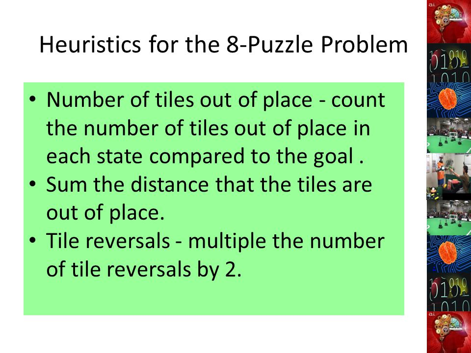 Heuristics for the 8-Puzzle Problem Number of tiles out of place - count the number of tiles out of place in each state compared to the goal.