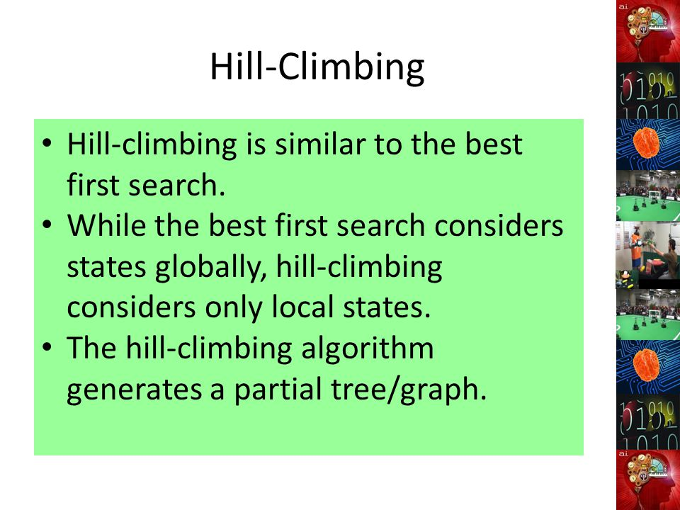 Hill-Climbing Hill-climbing is similar to the best first search.