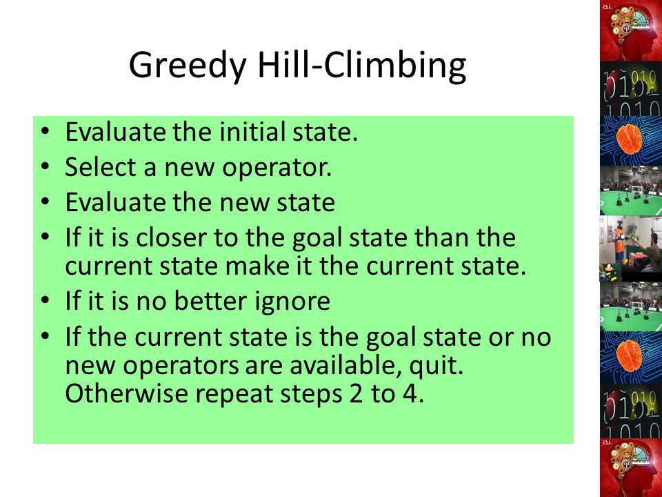 Greedy Hill-Climbing Evaluate the initial state. Select a new operator.