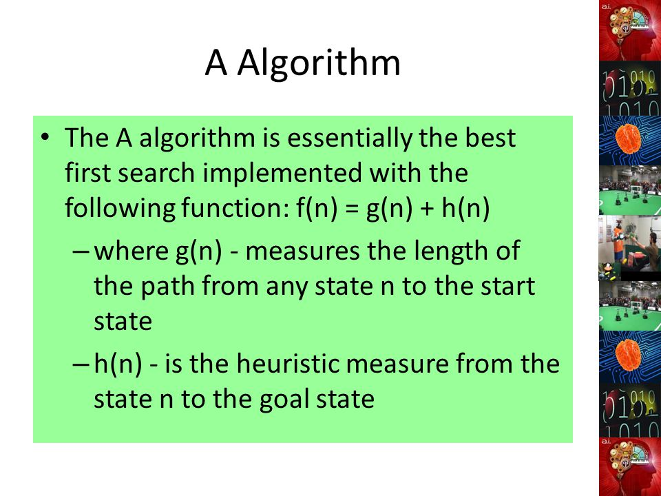 A Algorithm The A algorithm is essentially the best first search implemented with the following function: f(n) = g(n) + h(n) – where g(n) - measures the length of the path from any state n to the start state – h(n) - is the heuristic measure from the state n to the goal state