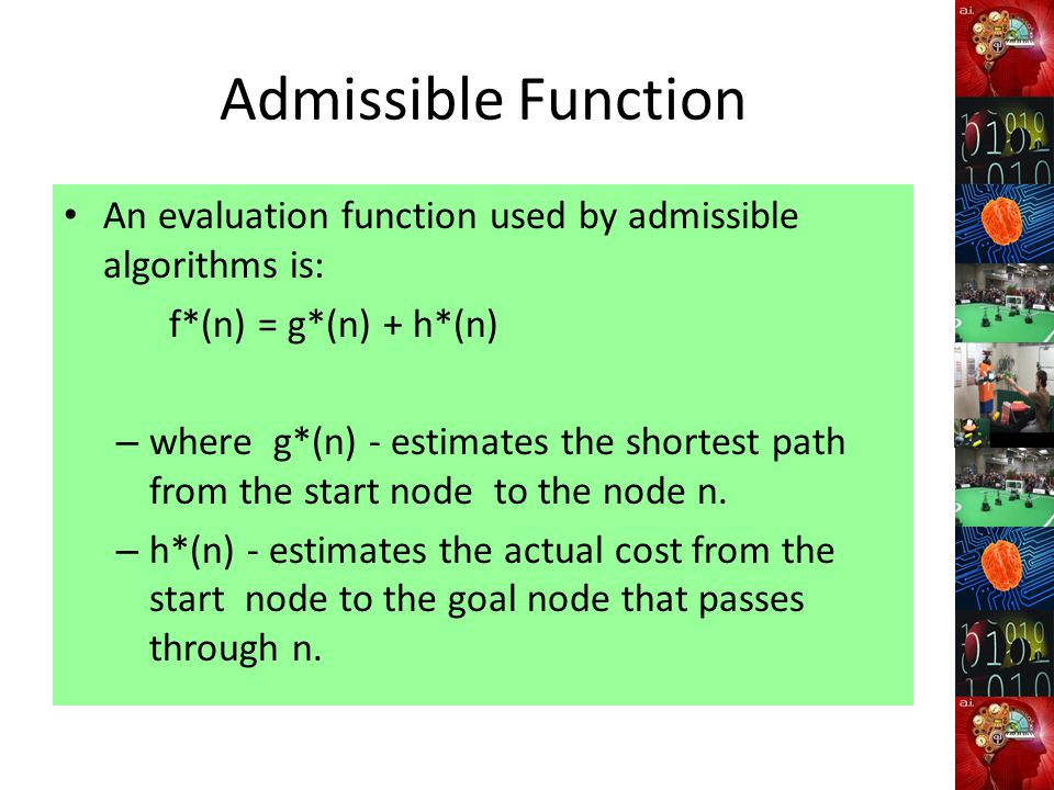 Admissible Function An evaluation function used by admissible algorithms is: f*(n) = g*(n) + h*(n) – where g*(n) - estimates the shortest path from the start node to the node n.