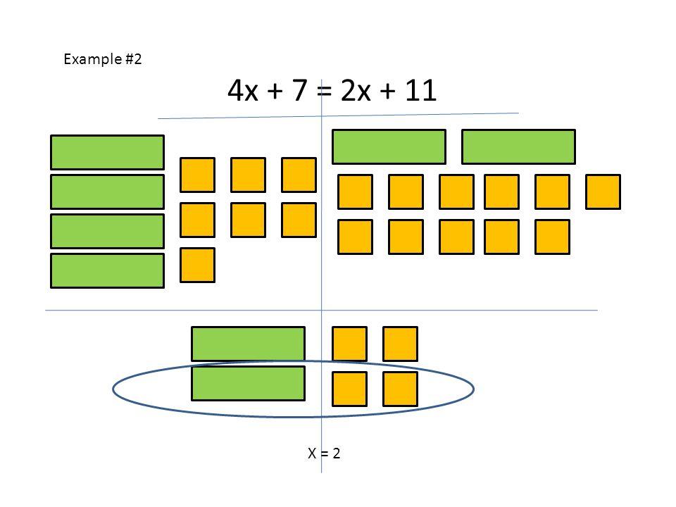 Example #2 4x + 7 = 2x + 11 X = 2