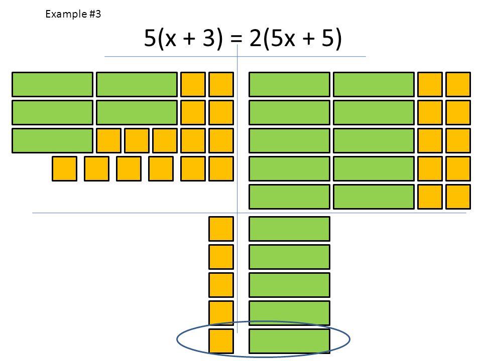 Example #3 5(x + 3) = 2(5x + 5)