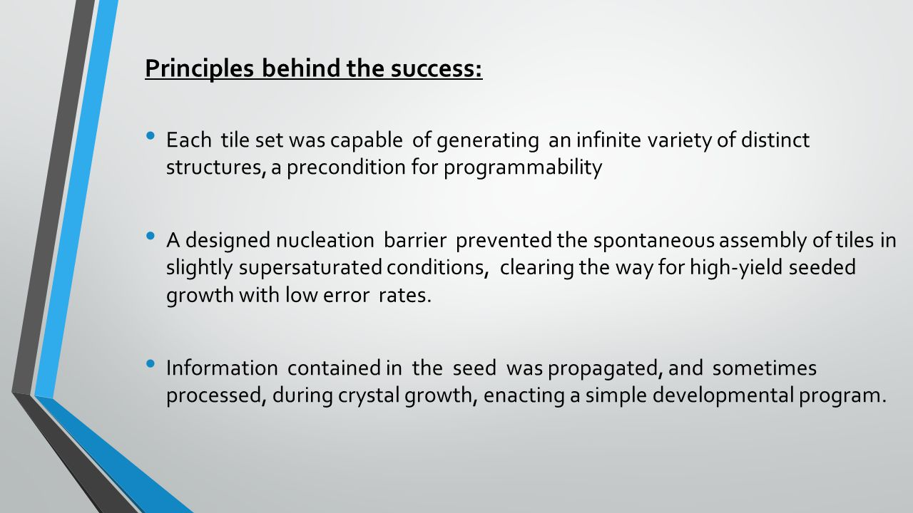 Principles behind the success: Each tile set was capable of generating an infinite variety of distinct structures, a precondition for programmability