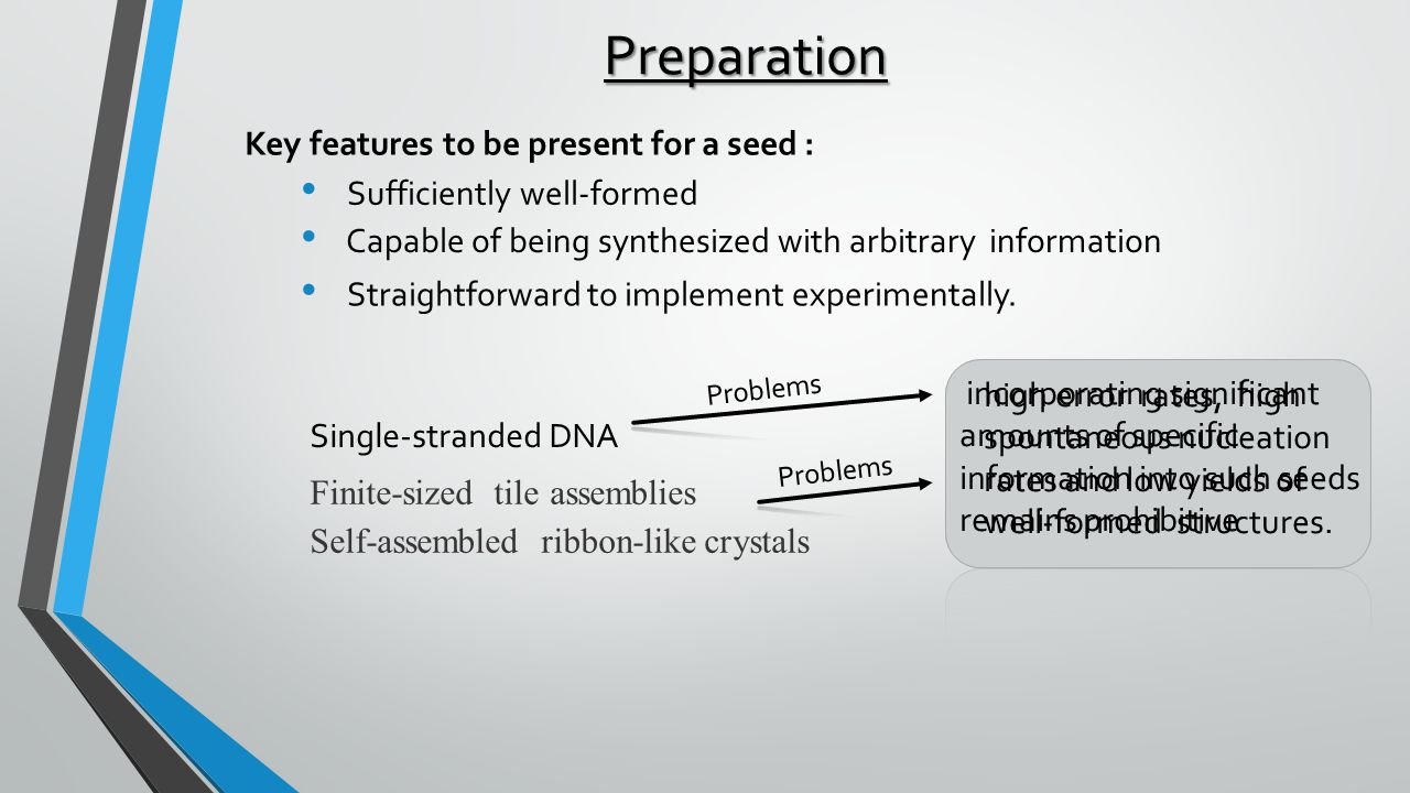 Preparation Key features to be present for a seed : Sufficiently well-formed Capable of being synthesized with arbitrary information Straightforward to implement experimentally.