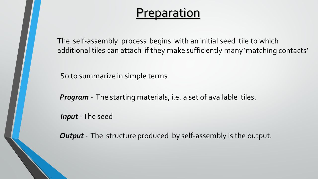 Preparation The self-assembly process begins with an initial seed tile to which additional tiles can attach if they make sufficiently many Program - The starting materials, i.e.