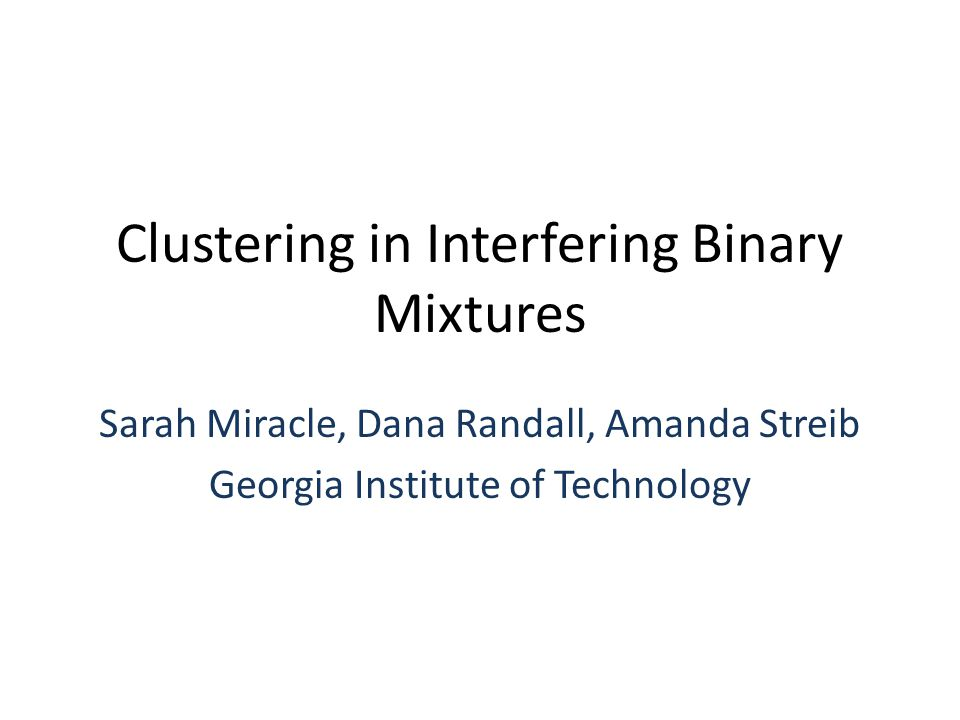 Clustering in Interfering Binary Mixtures Sarah Miracle, Dana Randall, Amanda Streib Georgia Institute of Technology