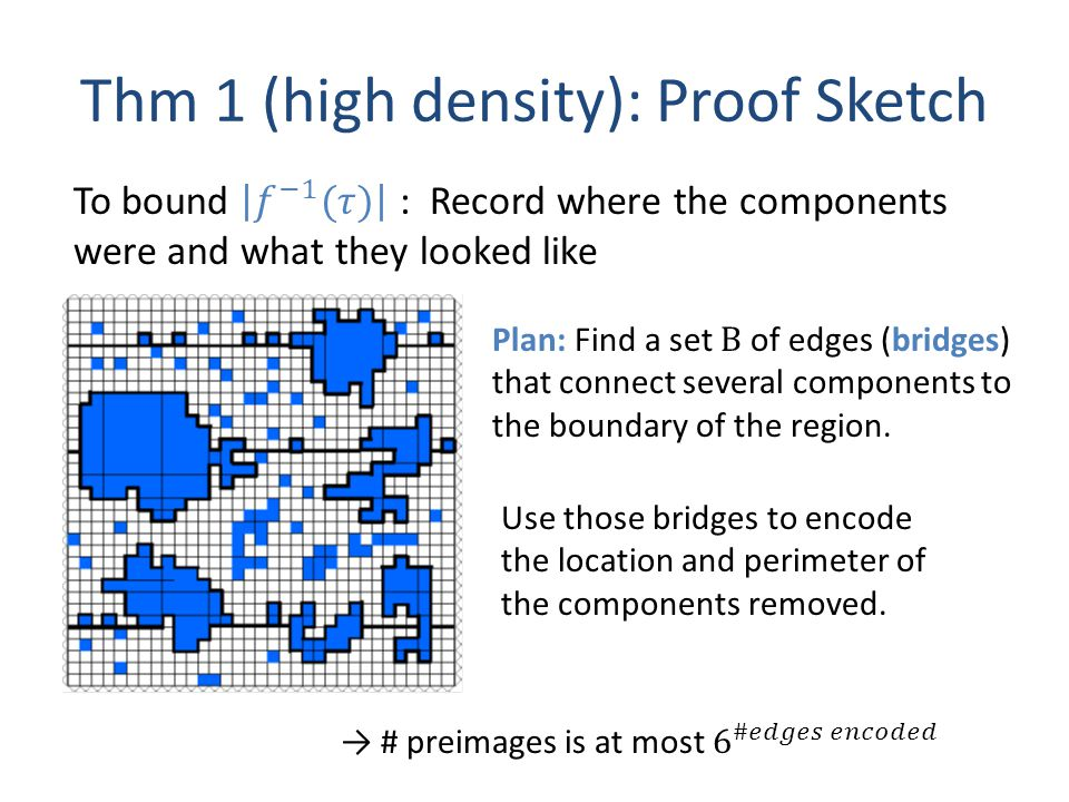 Thm 1 (high density): Proof Sketch Plan: Find a set B of edges (bridges) that connect several components to the boundary of the region.