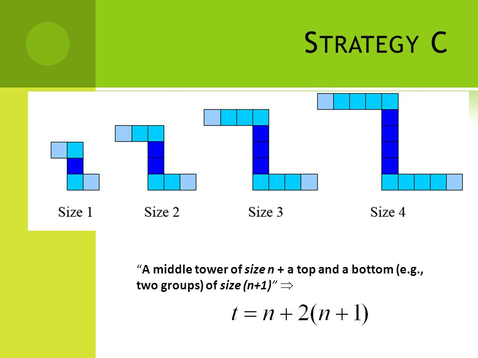 S TRATEGY C A middle tower of size n + a top and a bottom (e.g., two groups) of size (n+1)