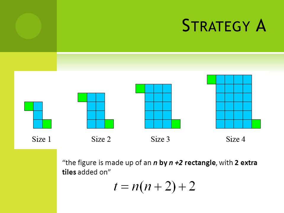 S TRATEGY A the figure is made up of an n by n +2 rectangle, with 2 extra tiles added on