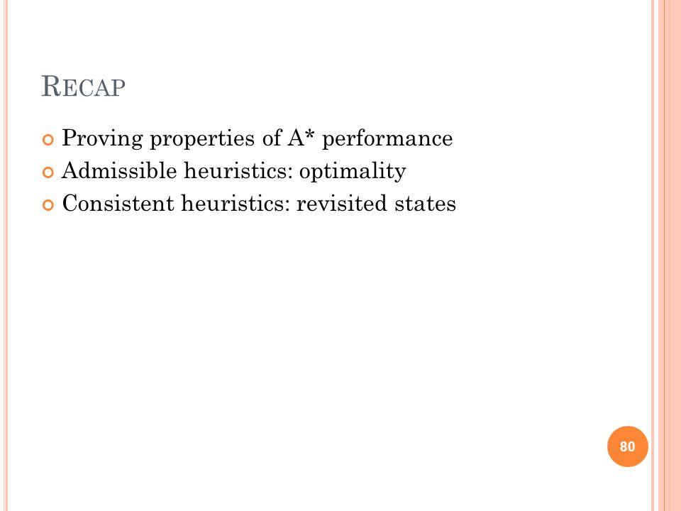 R ECAP Proving properties of A* performance Admissible heuristics: optimality Consistent heuristics: revisited states 80