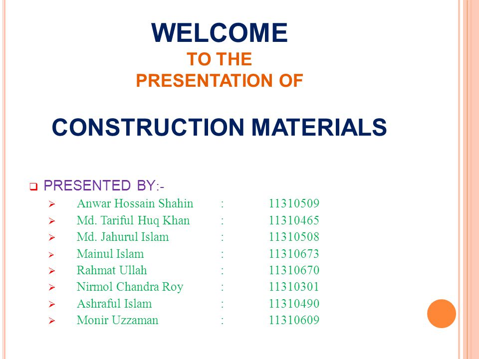 C ONSTRUCTION MATERIALS Civil Materials :- Aggregate (Bricks chips) Fine Aggregate i.