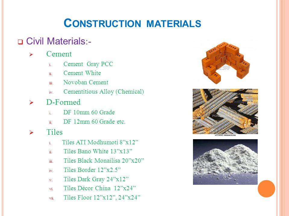 C ONSTRUCTION MATERIALS Civil Materials :- viii.Tiles Glass 7.5x7.5 ix.
