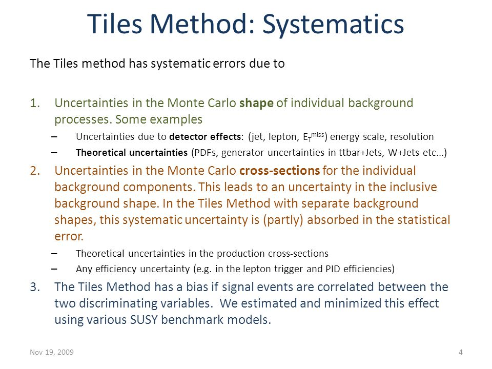 Tiles Method: Systematics The Tiles method has systematic errors due to 1.Uncertainties in the Monte Carlo shape of individual background processes. S