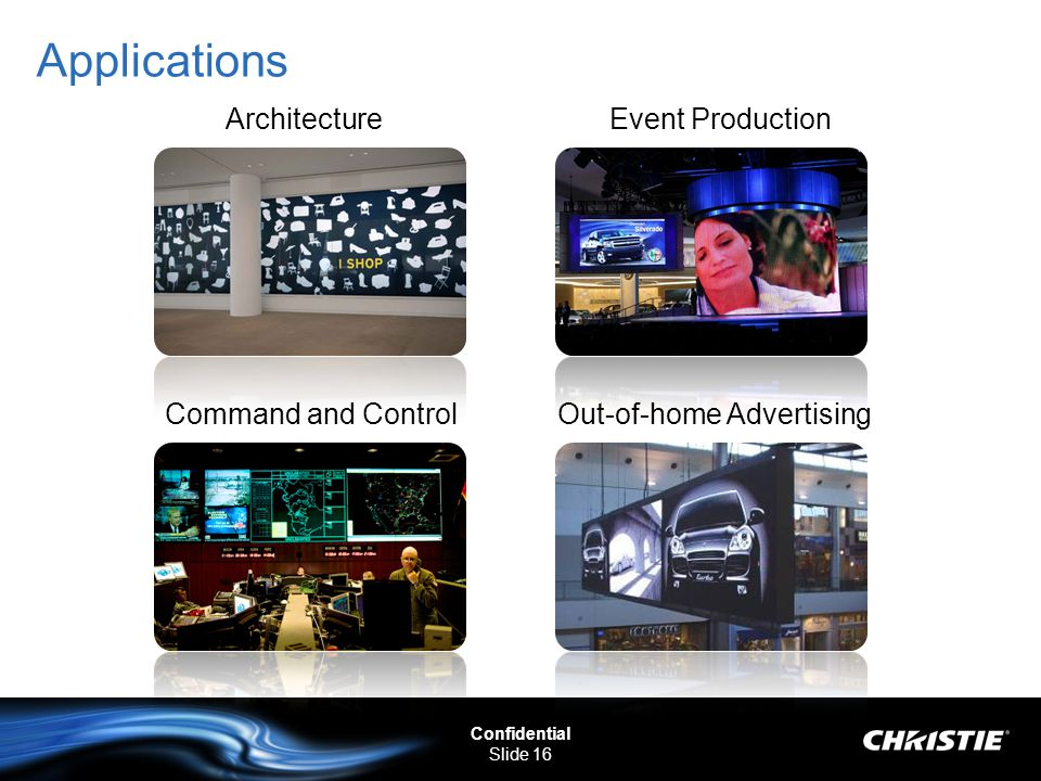 Confidential Slide 16 Applications ArchitectureEvent Production Command and ControlOut-of-home Advertising