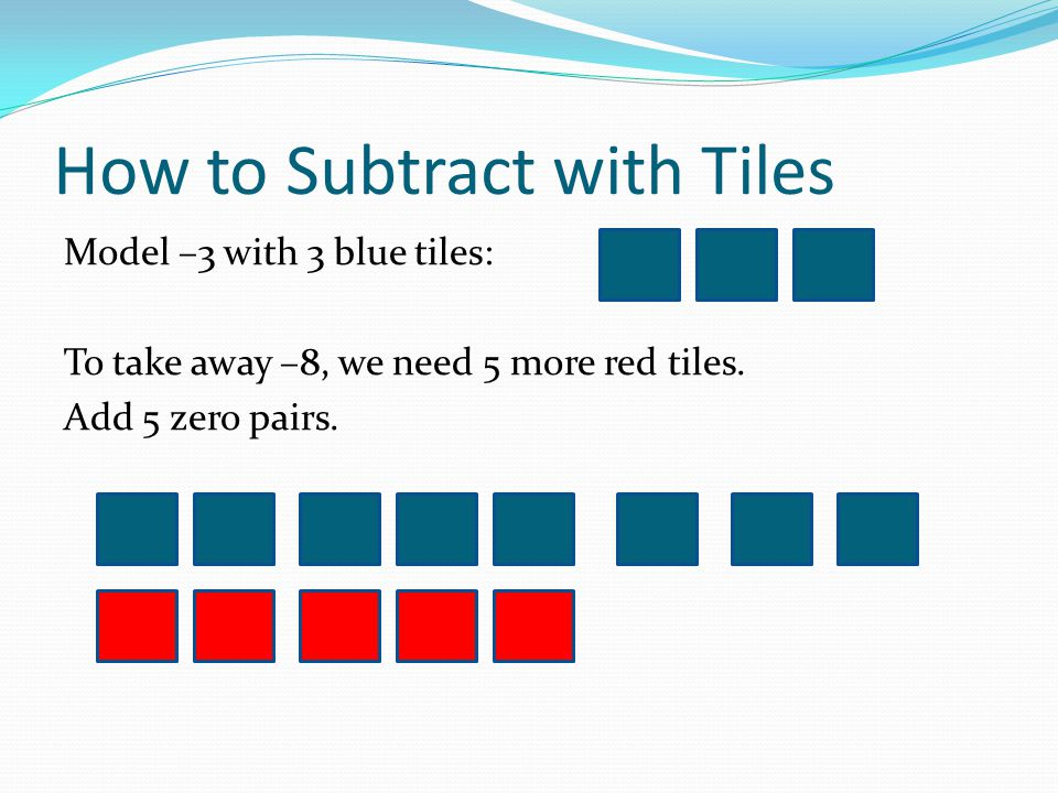 How to Subtract with Tiles Take away 8 blue tiles.