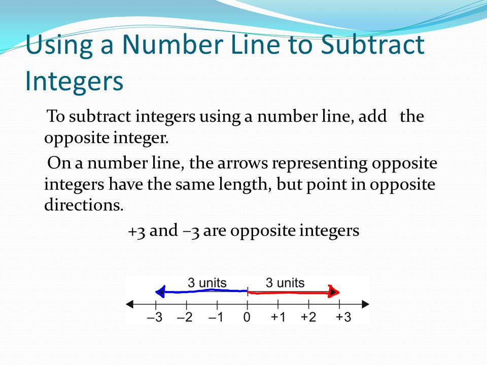 How to Subtract with Number Lines Example: Subtract: (+2) – (+7)