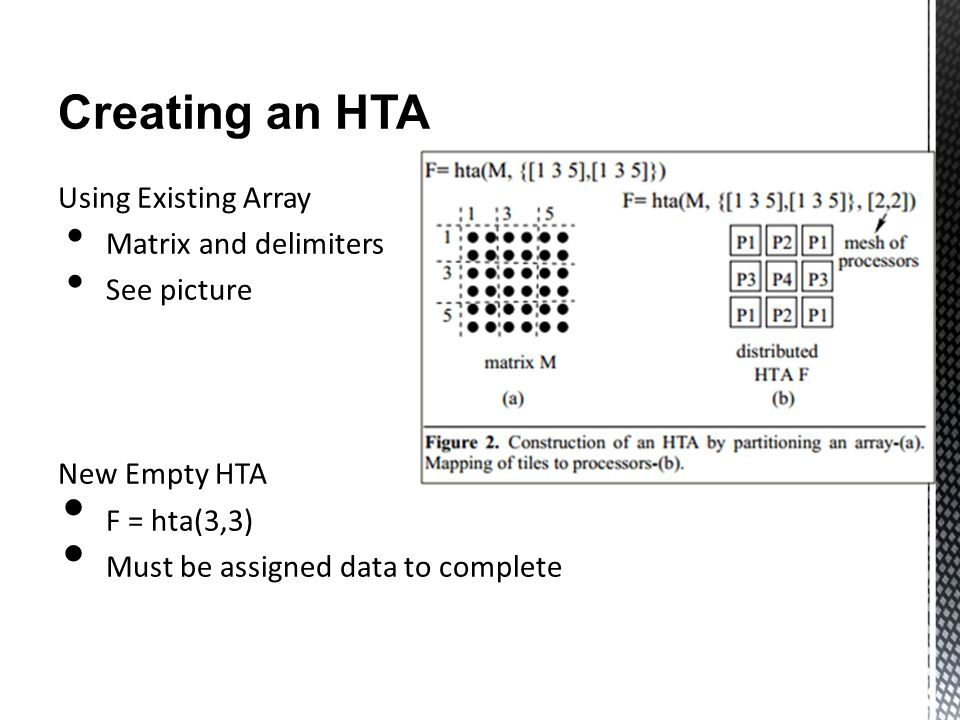Creating an HTA Using Existing Array Matrix and delimiters See picture New Empty HTA F = hta(3,3) Must be assigned data to complete
