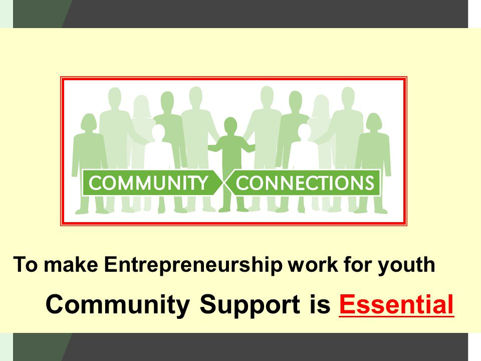 Community Support is Essential To make Entrepreneurship work for youth