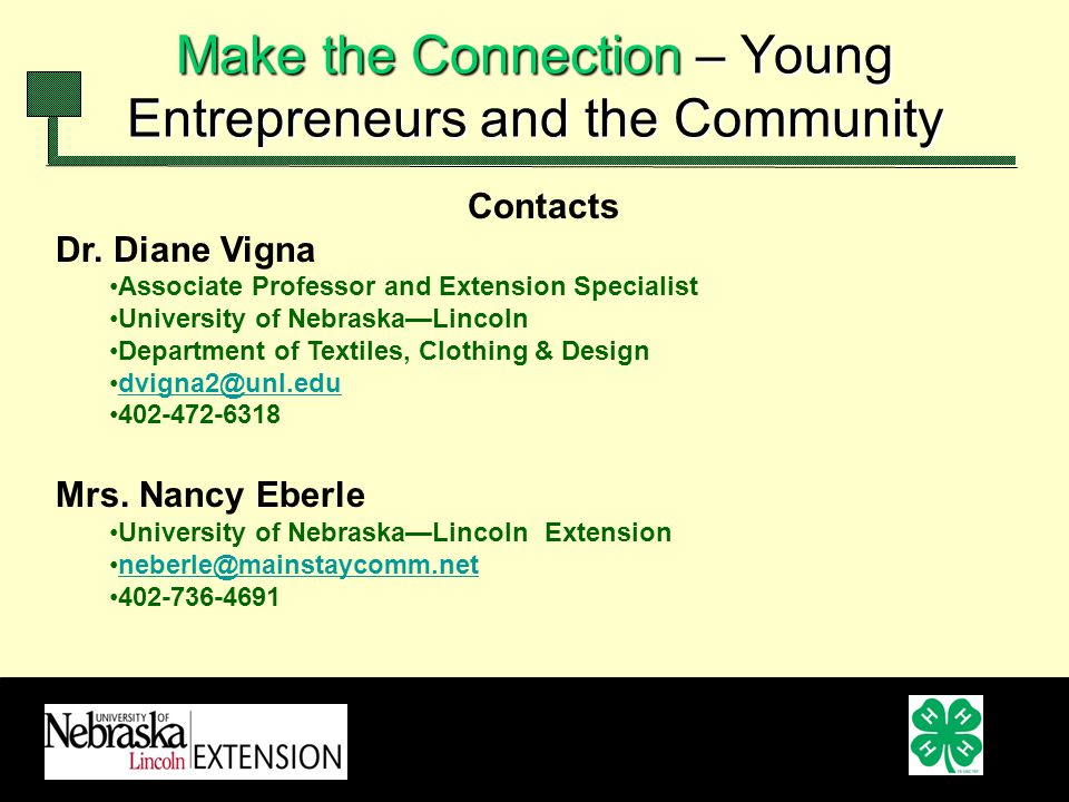 Contacts Dr. Diane Vigna Associate Professor and Extension Specialist University of NebraskaLincoln Department of Textiles, Clothing & Design dvigna2@