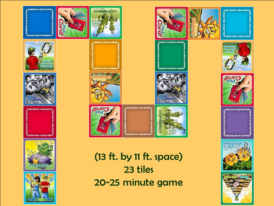 (13 ft. by 11 ft. space) 23 tiles 20-25 minute game