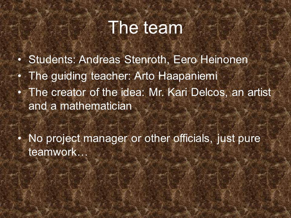 The team Students: Andreas Stenroth, Eero Heinonen The guiding teacher: Arto Haapaniemi The creator of the idea: Mr.