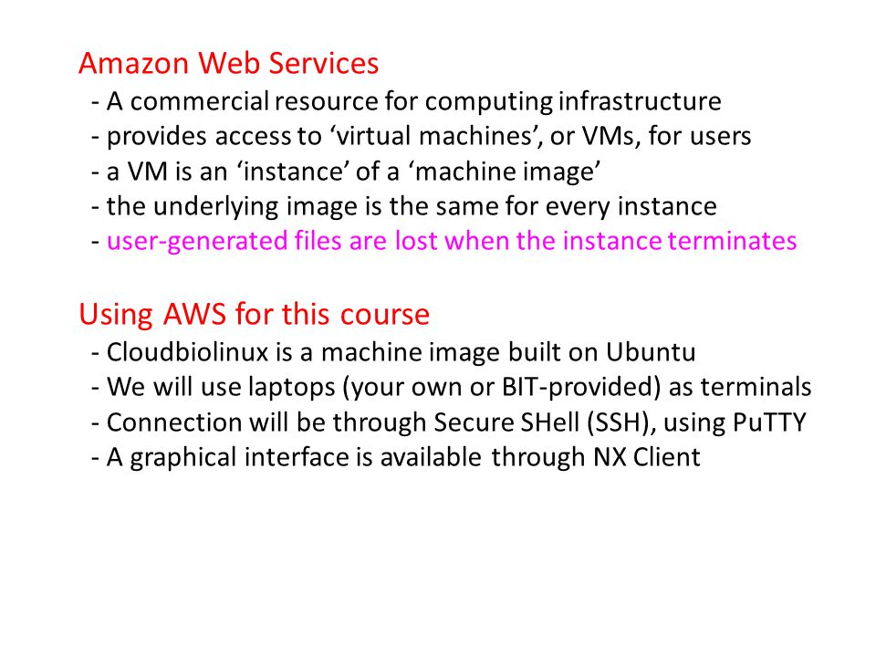 Amazon Web Services - A commercial resource for computing infrastructure - provides access to virtual machines, or VMs, for users - a VM is an instanc