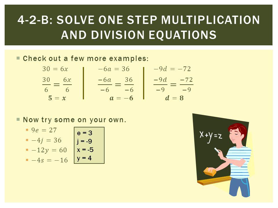 e = 3 j = -9 x = -5 y = 4
