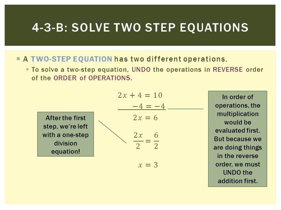 4-3-B: SOLVE TWO STEP EQUATIONS In order of operations, the multiplication would be evaluated first. But because we are doing things in the reverse or