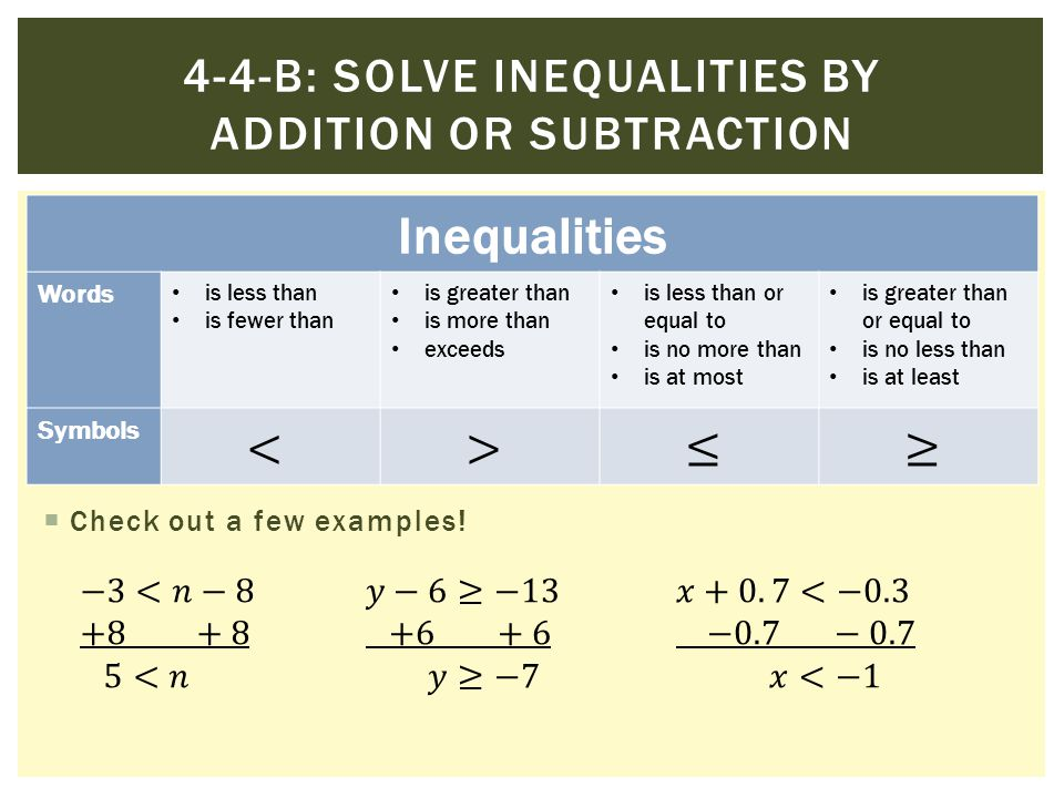 Inequalities Words is less than is fewer than is greater than is more than exceeds is less than or equal to is no more than is at most is greater than