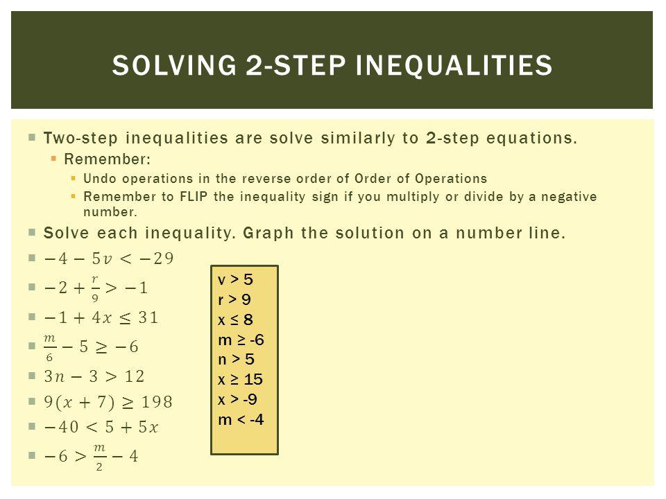 SOLVING 2-STEP INEQUALITIES v > 5 r > 9 x 8 m -6 n > 5 x 15 x > -9 m < -4