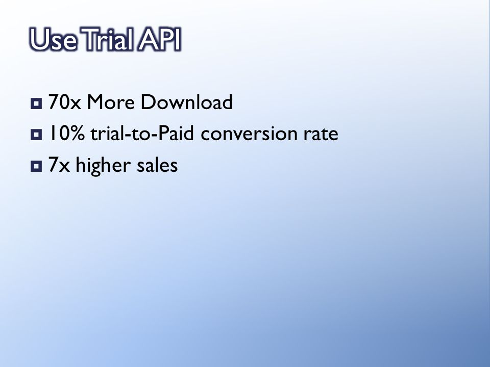 70x More Download 10% trial-to-Paid conversion rate 7x higher sales