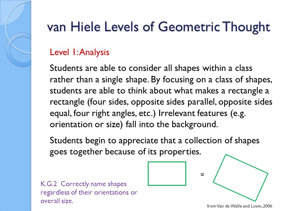 van Hiele Levels of Geometric Thought Level 1: Analysis Students are able to consider all shapes within a class rather than a single shape.