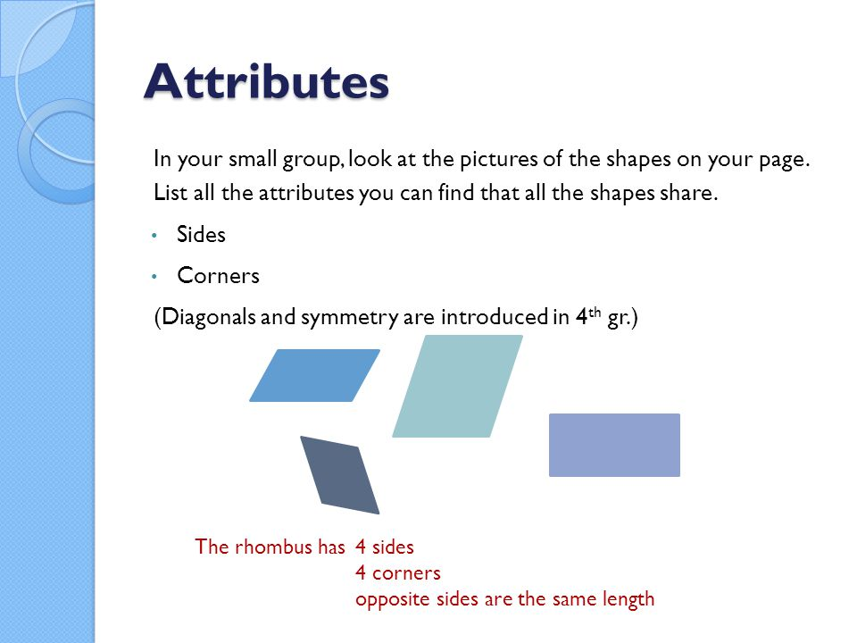 Attributes In your small group, look at the pictures of the shapes on your page.