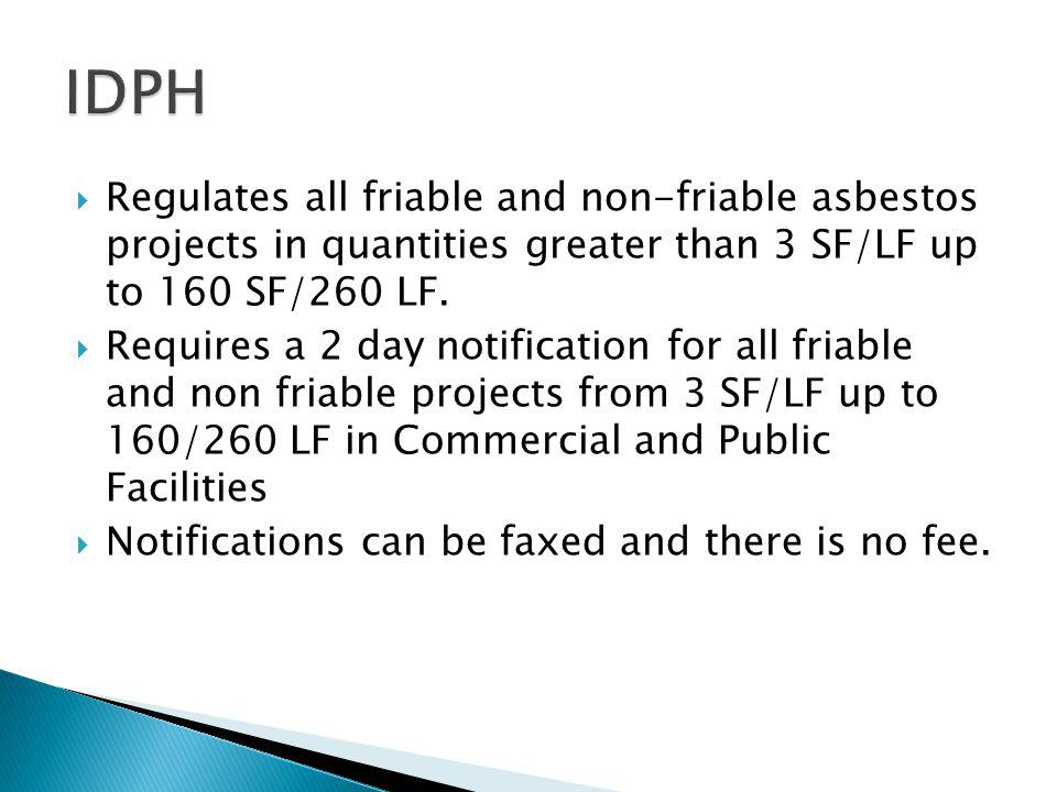 Regulates all friable and non-friable asbestos projects in quantities greater than 3 SF/LF up to 160 SF/260 LF.