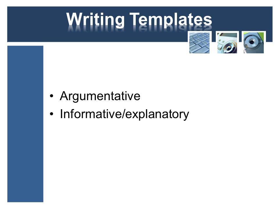 Argumentative Informative/explanatory